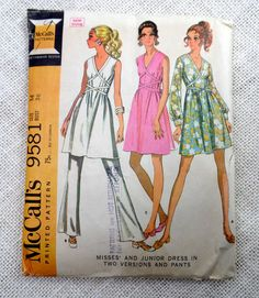 Vintage Pattern McCall's 9581 1960s pants by momandpopcultureshop