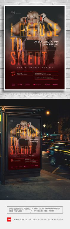 For Sale : http://graphicriver.net/item/trance-electro-music-poster-flyer-template/8253389?ref=kwangsoo  #trance #poster #flyer #nightclub #rave #club #techno #dance #templates