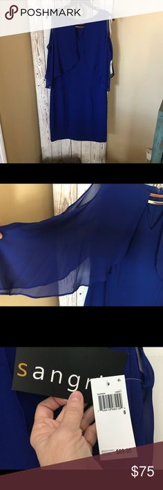 Gorgeous royal blue dress with sheer peak a boo NWT beautiful royal blue dress with sheer peek a boo sleeves hit right above the knee      Bought for my son rehearsal dinner but decided on another Signature by Sangria Dresses Wedding