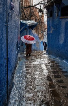 """visitheworld: """"Rainy morning in Chefchaouen / Morocco (by Bmartel2k). """""""