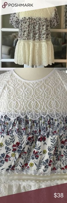 Blue Tassel Anthropologie Floral And Lace Top Lace Top Blue Tassel Lace