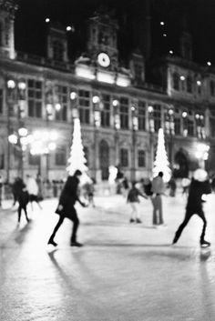Ice skating in Paris at the Patinoire de L'Hôtel de Ville.