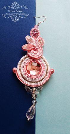 Handmade Soutache Pink White Earring  By Tímea Design - Bánfi Tímea