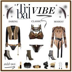 Tribal Vibe by aibp on Polyvore featuring Balmain, La Perla, Agent Provocateur, Wolford, Alaïa, Alexander McQueen, Chanel, Versace, Kala and Jacquie Aiche