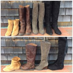 We love boots in all shapes and sizes! Come check out our newest arrivals. Joie booties 38.5 $142, Lucky Brand motorcycle 6.5 $44, Franco Sarto wedge 6.5 $56, Indigo by Clarks knee high 10 $64.