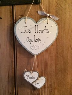 decorated with diamanté double heart decoration. Diy Anniversary Gifts For Him, Anniversary Crafts, Anniversary Decorations, Second Anniversary, Heart Diy, Heart Crafts, Wooden Hearts Crafts, Wedding Plaques, Paper Crafts Origami