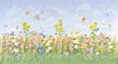A field of Fairies! Beautiful flowers, butterflies, and fairies adorn this sweet and engaging poster. This colorful poster will turn your child's room into a Fairyland adventure. Have fun locating all the fairies amongst the flowers! Painting Wallpaper, Mural Painting, Wall Wallpaper, Paintings, Decoupage, Garden Mural, Flower Mural, Murals For Kids, Wall Murals