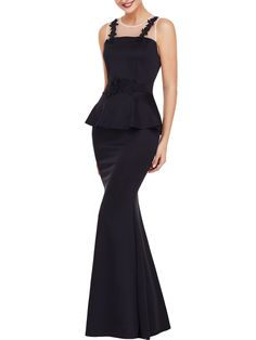 Round Neck Peplum See-Through Mermaid Evening Dress