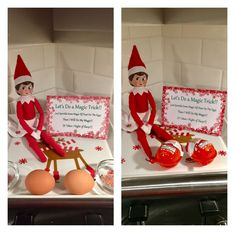 Good Free Elf on the shelf day 4 (and Jingle Bell has a magic trick for the girls! Suggestions Elf on the shelf day 4 (and Jingle Bell has a magic trick for the girls! She left them eggs a Awesome Elf On The Shelf Ideas, Kindness Elves, Elf Magic, Christmas Preparation, Christmas Elf, Family Christmas, Christmas Crafts, Look Here, Magic Tricks