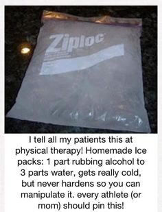 Homemade ice pack-really works, used it with Cierra