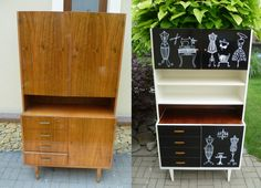 befor and after Furniture Makeover, Antique Furniture, Kids Study, Furniture Restoration, Modern Retro, Hacks Diy, Painting Cabinets, Diy And Crafts, Diy Projects