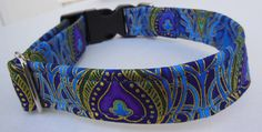 Peacock Adjustable Dog Collar_ Made to Order_ by JinsK9Kreations, $18.00