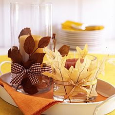 Thanksgiving crafts: Upgrade candle holders with leaves
