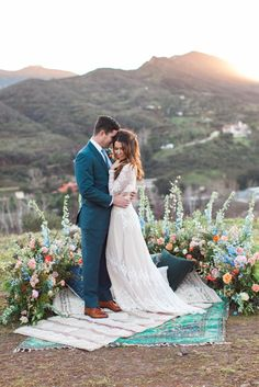 Boho chic vineyard wedding inspiration with the groom in a navy suit. Photography: Wisteria Photography See more here: http://stitch.bz/fBffKy