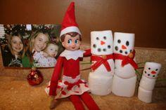 Elf on the Shelf Idea. Marshmallow snowmen family.