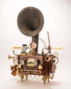 Steampunk gramophone for iPhone and Android 4 by TheCuriousArtwork, $625.00