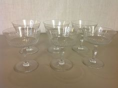 1940's Signed Kosta Sweden Crystal Diamond Wine CHAMPAGNE Glasses Set of 6