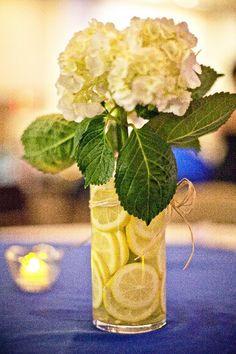 centerpieces ideas with lemons | Craft Ideas / homemade centerpieces // lemons, raffia, and white ...