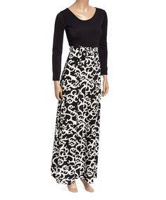 Look what I found on #zulily! Black & White Filigree Scoop Neck Maxi Dress #zulilyfinds
