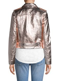 True Religion Rose Gold Leather Jacket - X-Small Metallic Jacket, Gold Leather, Leather Jacket, True Religion, Blouse, Jackets, Rose Gold, Clothes, Tops