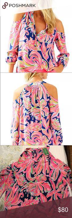 ac0efde581c23 Lilly Pulitzer Sunny Shoulder Silk XL Lilly Pulitzer Sunny shoulder silk  Elsa top. Resort navy