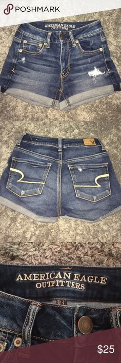 American eagle super stretch jean shorts. Size 0 These are barely used and in great condition. I got them in the end of last summer and have grown out of them by now. American Eagle Outfitters Shorts Jean Shorts