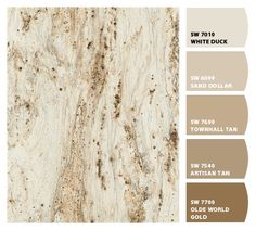 Countertops Formica River Gold with suggested Sherwin-WIlliams paint colors - Beige Paint Colors, Kitchen Paint Colors, Interior Paint Colors, Paint Colors For Home, Wall Colors, House Colors, Neutral Paint, Gray Paint, Granite Paint