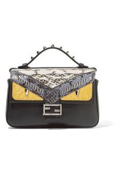 b0f97499f785 Fendi - Double Baguette Micro Elaphe And Crocodile-paneled Leather Shoulder  Bag - Black Leather