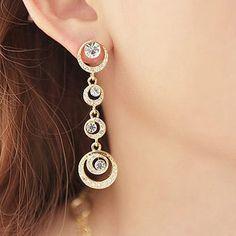 Fashion clip-on earrings cusion Long full Rhinestone water droplets Moon non pierced earrings ear clips bridal