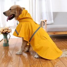 Outdoor Adjustable Dog Raincoat Pet Puppy Lightweight Rain Jacket Poncho  Waterproof with Reflective Strip in Rainy Day (S-XXL) Blue Yellow Orange    Check ... 6a64e8a570ee
