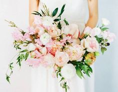 Pink and white bohemian bouquet.