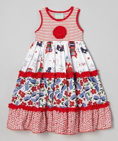 Another great find on #zulily! Red & Blue Floral Katie Dress - Infant, Toddler & Girls #zulilyfinds