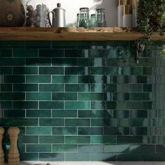 Artisan Moss Green Ook leverbaar in Moroccan Wall Tiles, Tile Stores, Metro Tiles, Bathroom Inspiration, Bathroom Ideas, Loft Bathroom, Bathroom Interior, Beautiful Wall, Cottage Chic
