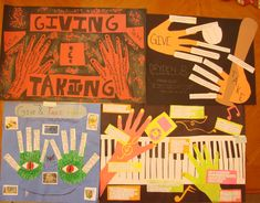"""I keep/photograph great student samples for showing/inspiring next year's students. Here are four samples from last year's """"Giving Hands/Taking Hands"""" opening writing activity and hallway publishing task.  This lesson is the center-square lesson on our Writer's Notebook Bingo Cards, which you can freely preview here: http://corbettharrison.com/products.html#bingo"""