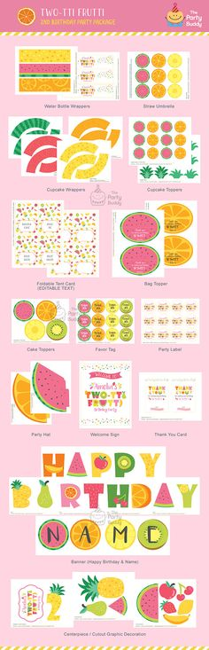 Twotti Frutti Party Pack Girls Sweet 2nd Birthday Tutti
