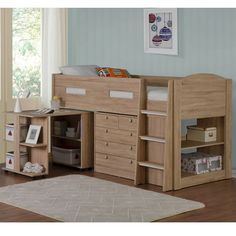 The Frankie Oak Midsleeper Bed Frame is a great looking solid children's cabin bed that features under bed storage and workstation.