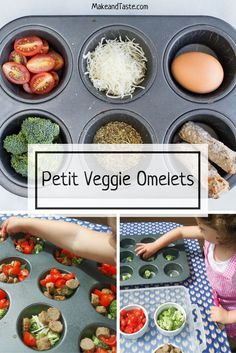 An easy kid friendly recipe, Veggie Omelets.  Plus they also enjoy some vegetables  and eggs in the process.  Get the recipe today.