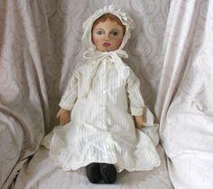 Oil Painted Face Cloth Artist Doll by Jean Rousse - Lynette Gross Antique Dolls, LLC #dollshopsunited