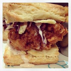 fried chicken in a biscuit sandwich @ The Butterfly