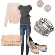 I need a pink and gray outfit