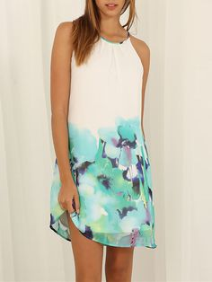 White Spaghetti Strap Floral Print Color Block Dress