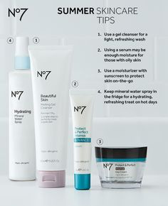 Make these skincare swaps with the change in season for smooth, hydrated and refreshed skin all summer long! All products available at @target: No7 Hydrating Face Spray Mineral Water: $9.99 No7 Beautiful Skin Melting Gel Cleanser for Normal/Dry Skin: $9.99 No7 Protect & Perfect Intense Advanced Serum: $29.99 No7 Protect & Perfect Intense Day Cream SPF 15: $24.99