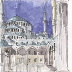 Blue Mosque, Istanbul, TR – mrch – Join the world of pin Aldo Rossi, Building Illustration, Blue Mosque, Urban Sketchers, Watercolor Sketch, Wallpaper Quotes, My Drawings, Taj Mahal, Sketches