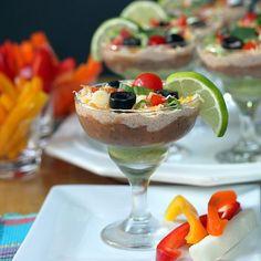 Mini-Mexican Layered Dip served in individual mini-margarita glasses ~ Fun for Cinco de Mayo Mexican Appetizers, Appetizer Dips, Appetizers For Party, Appetizer Recipes, Mexican Food Recipes, Individual Appetizers, Mexican Dips, Mexican Party, Tortillas