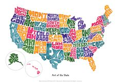 Art of The State Groovy Geography USA Map Poster 14 X 20 inches by jeaninecolini on Etsy https://www.etsy.com/listing/189861735/art-of-the-state-groovy-geography-usa