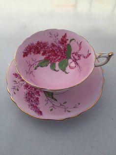 Pink Paragon circa 1930's bunches of lavender teacup and