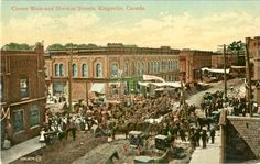 Circa 1900's - Kingsville (Main St & Division) celebrating a public event. Essex County, Division, Maine, Public, Painting, Painting Art, Paintings, Painted Canvas, Drawings