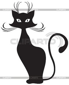 Черная кошка | Векторный клипарт | ID 3090057