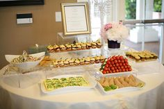 Tablescape. Yummy finger food ideas. Hostess with the Mostess® - Gossip Girl Inspired Bridal Shower