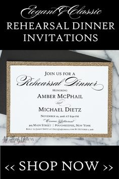How great is this elegant & classic rehearsal dinner invitation? Invite your VIP's to your rehearsal dinner with this beautiful rehearsal dinner invitation. Customize your colors and wording!